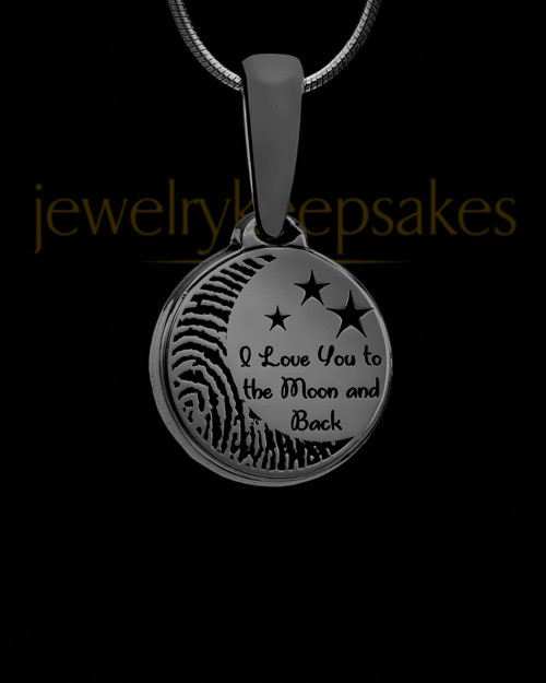 Black Plated To the Moon and Back Thumbprint Pendant