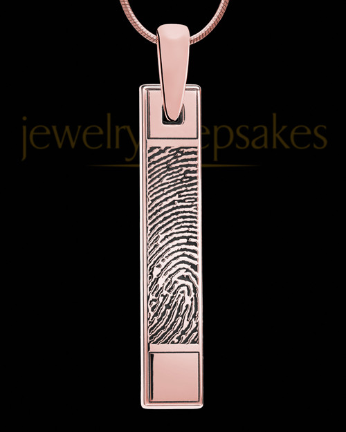 Thumbprint Bar Rose Gold Plated Pendant