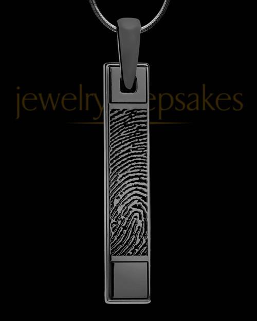 Thumbprint Bar Pendant Black Plated