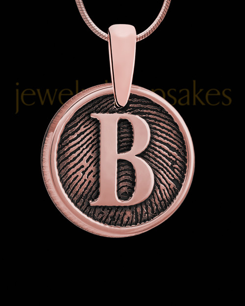 Raised Initial Rose Gold Plated Round Thumbprint Pendant