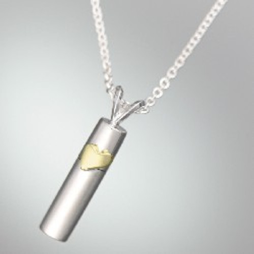Necklace Urn Sterling Silver Cylinder with 14K Gold Heart