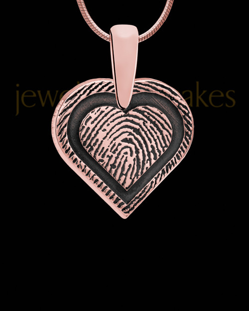 Rose Gold Plated Bounded Heart Thumbprint Pendant