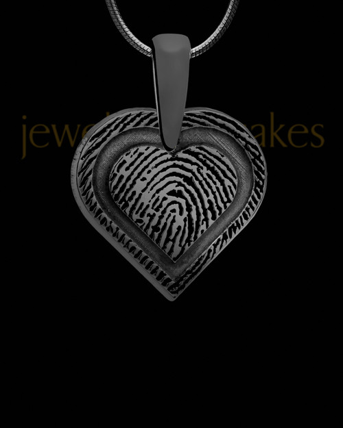 Bounded Heart Thumbprint Black Plated Pendant