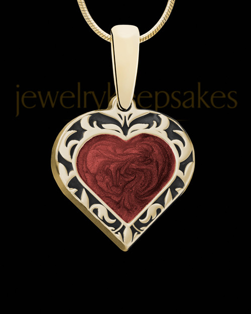 Burning Heart Gold Ash Jewelry