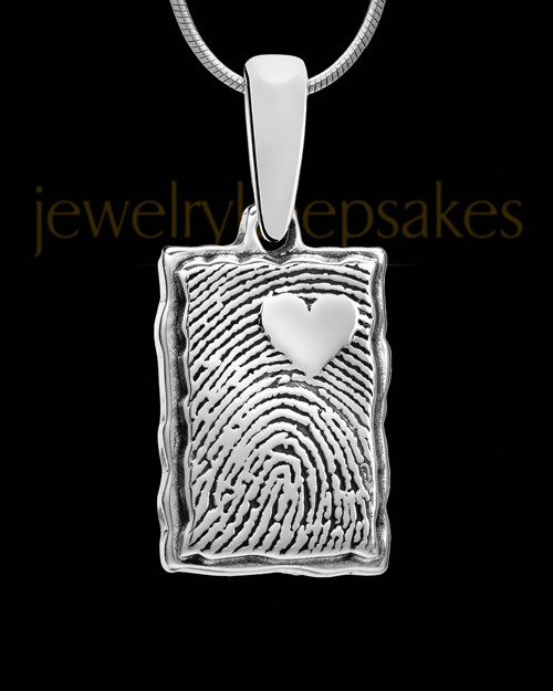 Solid 14k White Gold My Love Rectangle Thumbprint Pendant