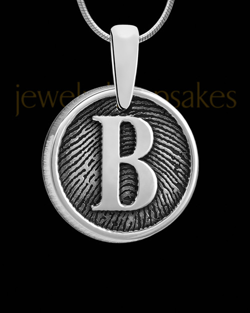 Solid 14k White Gold Raised Initial Round Thumbprint Pendant