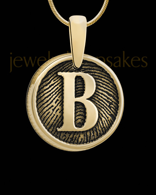 Solid 14k Gold Raised Initial Thumbprint Pendant