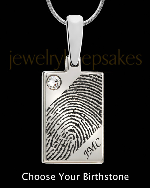 Solid 14k White Gold Birthstone Rectangle Thumbprint Pendant