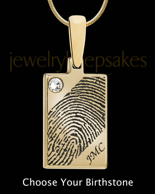 Solid 14k Gold Birthstone Rectangle Thumbprint Pendant