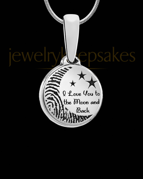 Solid 14k White Gold to the Moon and Back Thumbprint Pendant