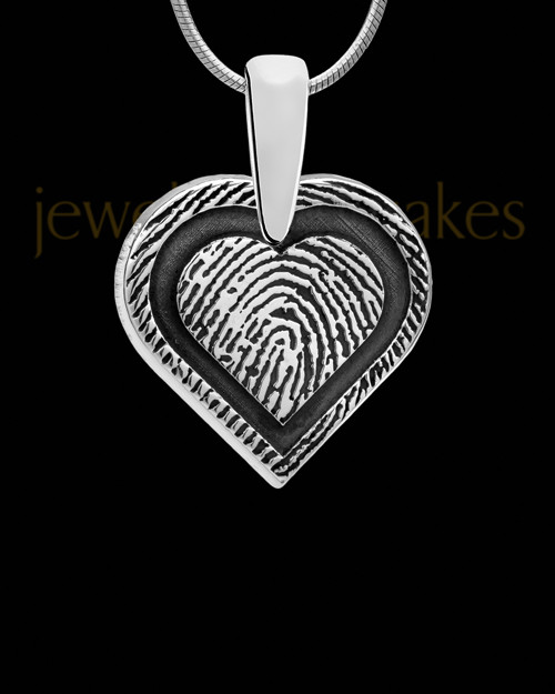 Solid 14k White Gold Bounded Heart Thumbprint Pendant
