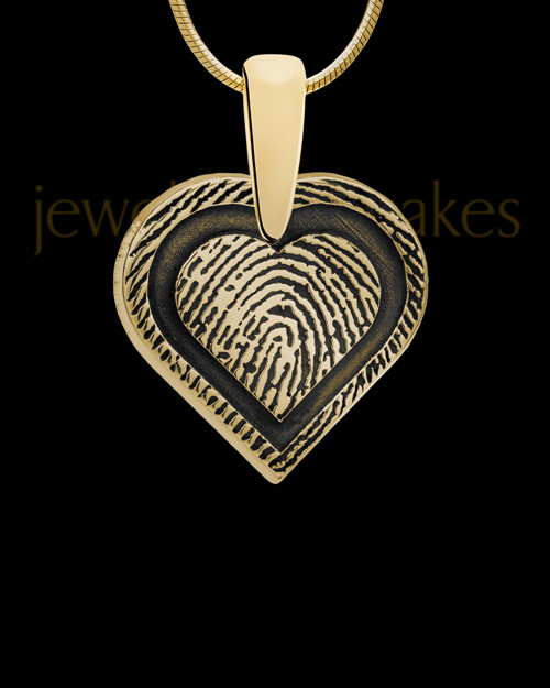 Solid 14k Gold Bounded Heart Thumbprint Pendant
