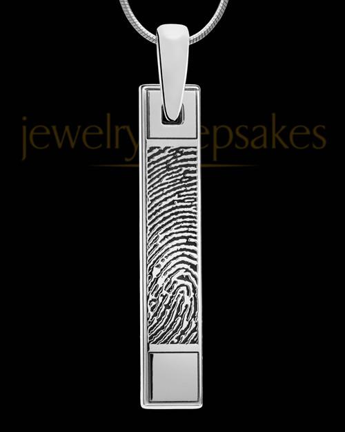 Solid 14k White Gold Bar Thumbprint Pendant