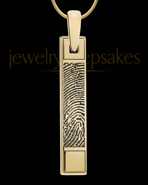 Solid 14k Gold Bar Thumbprint Pendant