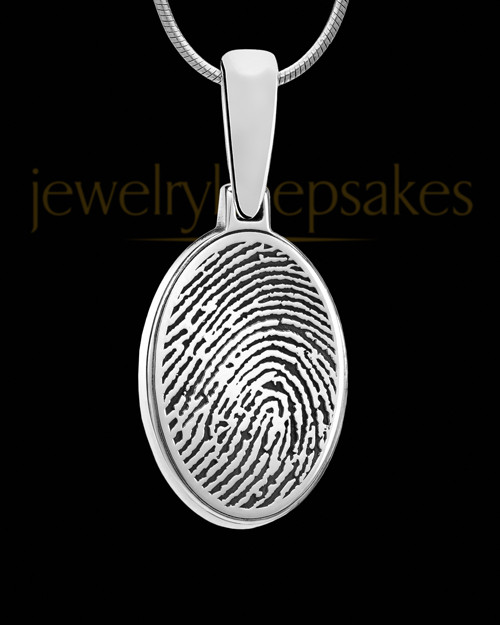 Solid 14k White Gold Oval Thumbprint Pendant