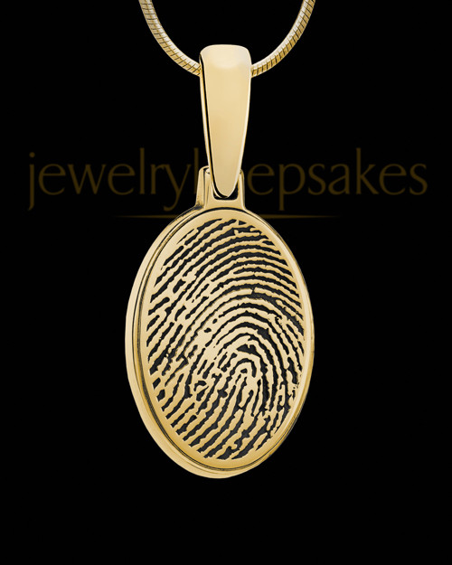 Solid 14k Gold Oval Thumbprint Pendant