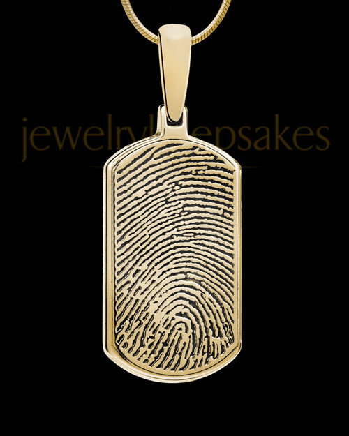 Solid 14k Gold Dog Tag Thumbprint Pendant
