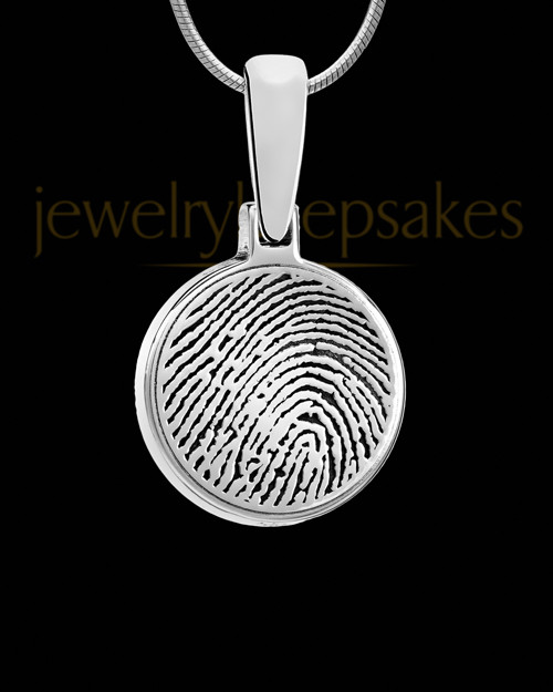 Solid 14k White Gold Round Thumbprint Pendant