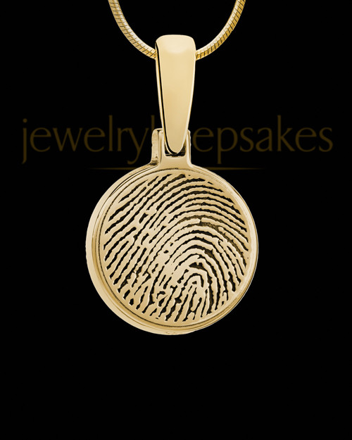 Solid 14k Gold Round Thumbprint Pendant