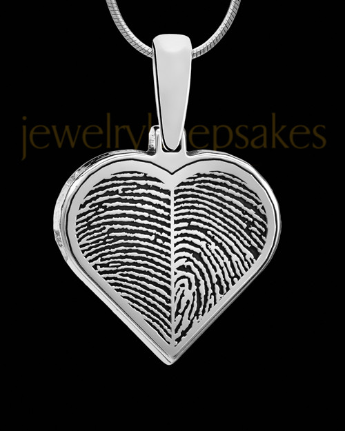 Solid 14k White Gold Two-print Heart Thumbprint Pendant