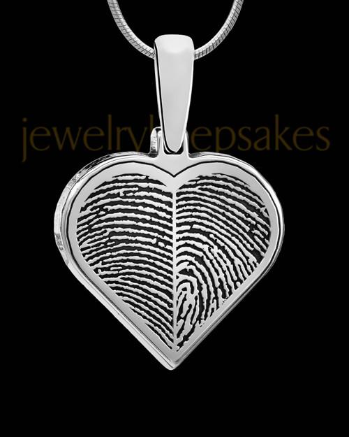Solid 14k White Gold Two-print Heart Thumbprint Pendant