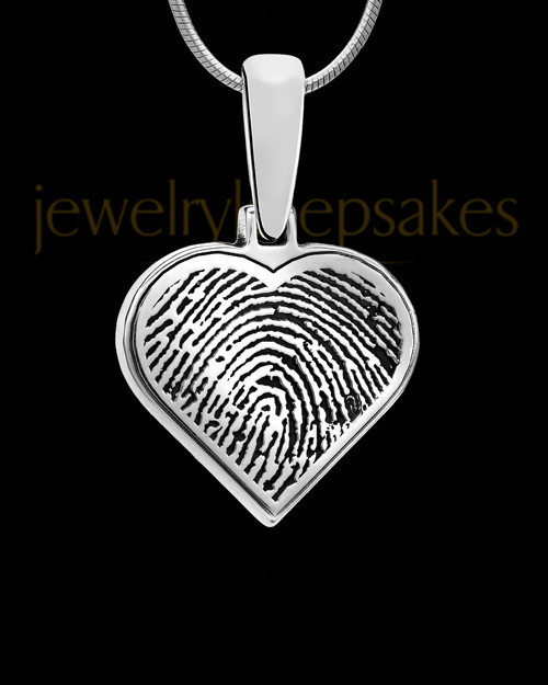 Solid 14k White Gold Heart Thumbprint Pendant