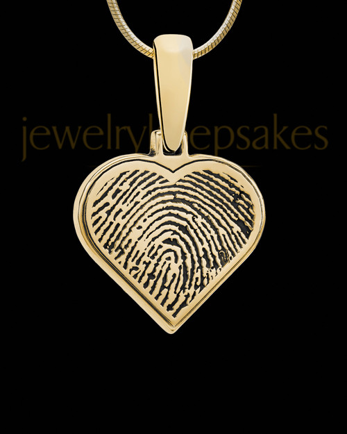 Solid 14k Gold Heart Thumbprint Pendant