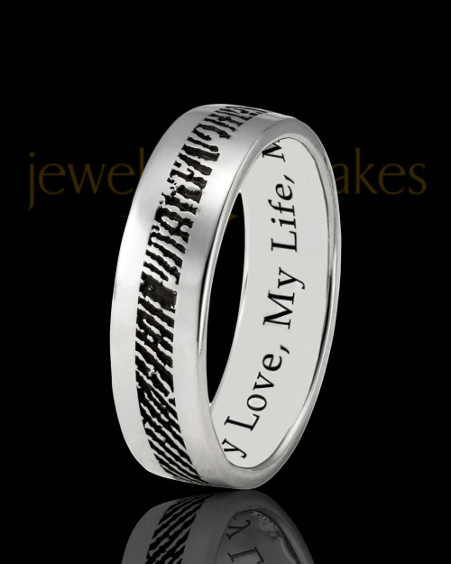 Ladies Thin Solid 14k White Gold Thumbprint Ring