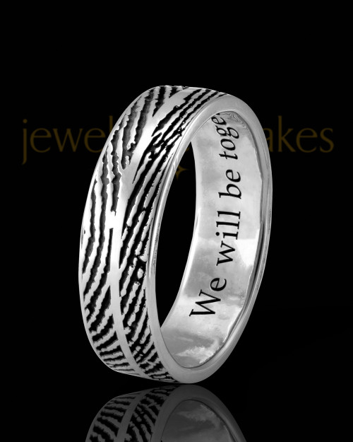 Ladies Solid 14k White Gold Two Print Thumbprint Ring
