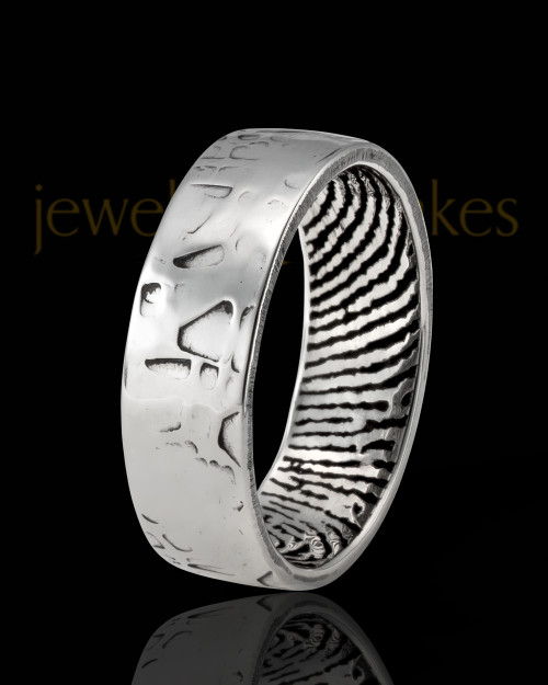 Ladies Solid 14k White Gold Textured Thumbprint Ring