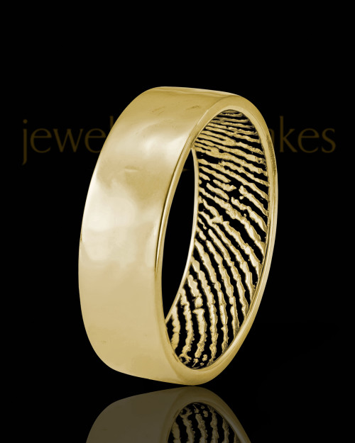 Ladies Solid 14k Gold Hammered Thumbprint Ring