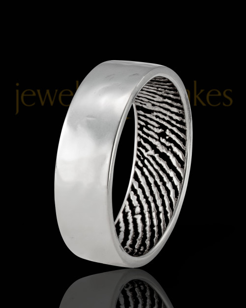 Ladies Solid 14k White Gold Hammered Thumbprint Ring
