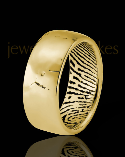 Men's Solid 14k Gold Textured Thumbprint Ring