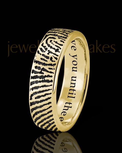 Ladies Solid 14k Gold Thumbprint Ring