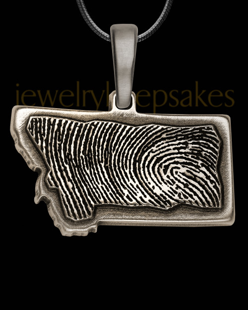 Antique Sterling Silver My State Thumbprint Pendant