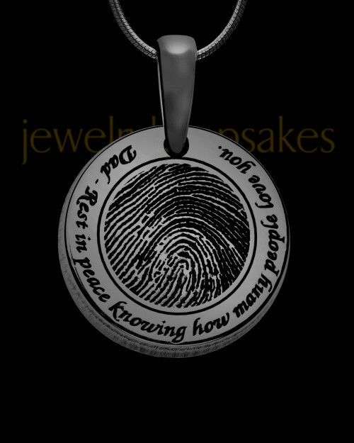 Rounded Black Plated Sterling Thumbprint Pendant