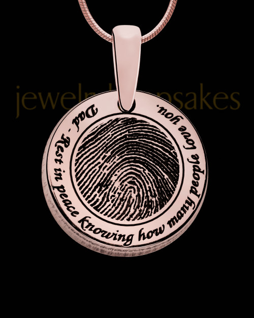 Rounded Rose Gold Plated Sterling Thumbprint Pendant