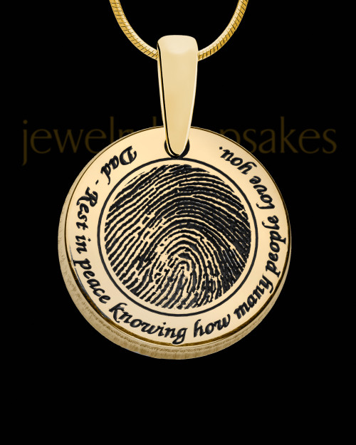 Rounded Solid 14k Gold Thumbprint Pendant