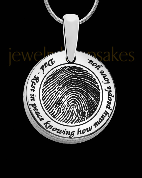 Rounded Solid 14k White Gold Thumbprint Pendant