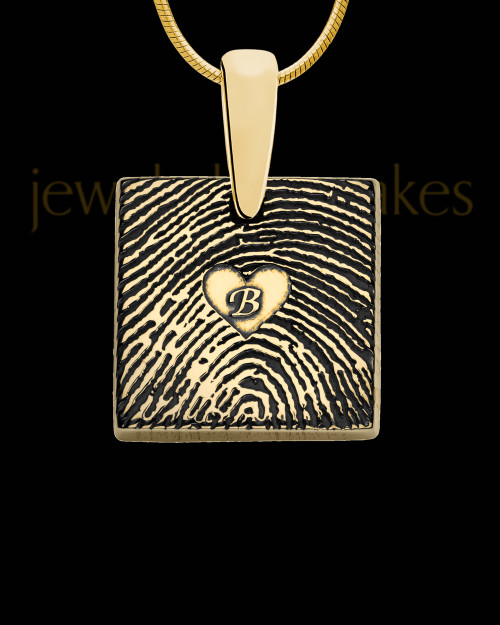Gold Plated Sterling Tender Heart Square Thumbprint Pendant