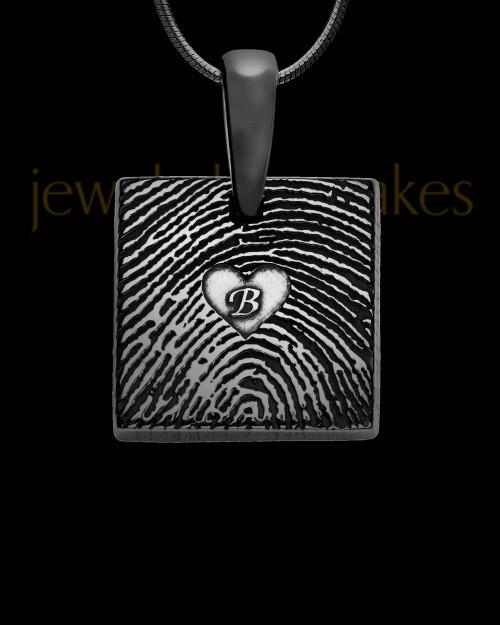 Black Plated Sterling Tender Heart Square Thumbprint Pendant