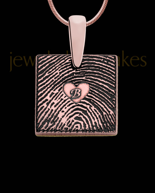 Rose Gold Plated Sterling Tender Heart Square Thumbprint Pendant