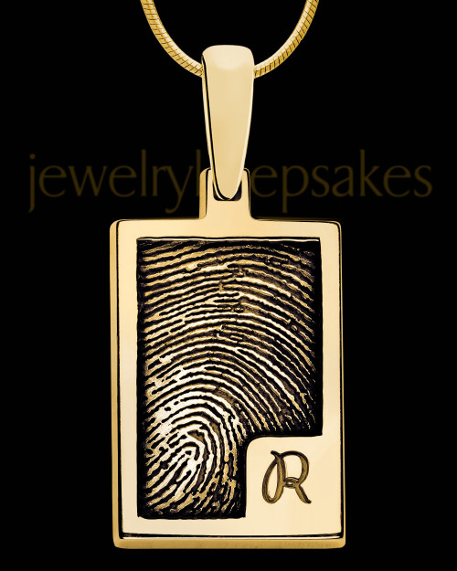 Initial Rectangle Gold Plated Thumbprint Pendant