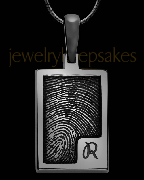 Initial Rectangle Black Plated Sterling Thumbprint Pendant