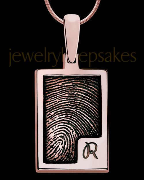 Initial Rectangle Rose Gold Plated Sterling Thumbprint Pendant