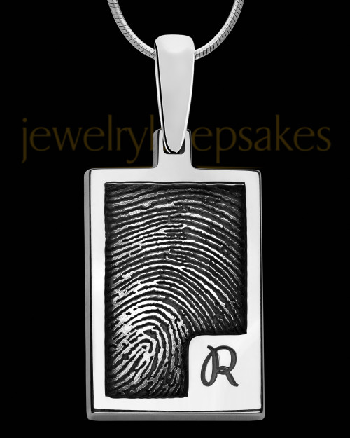 Solid 14k White Gold Initial Rectangle Thumbprint Pendant