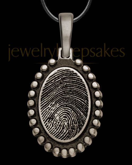 Antique Sterling Silver Charming Oval Thumbprint Pendant