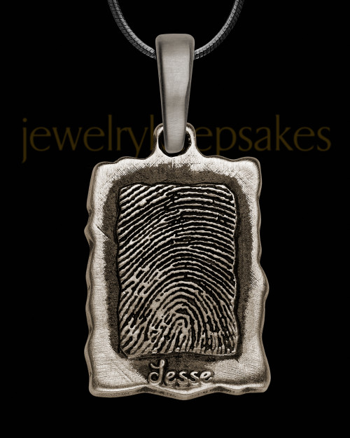 Antique Edged Sterling Silver Rectangle Thumbprint Pendant