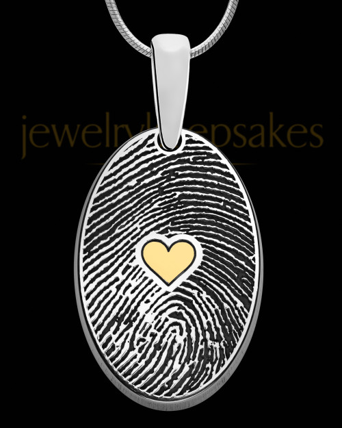 Solid 14k White Gold Heartfelt Oval with Gold Plated Heart Thumbprint Pendant