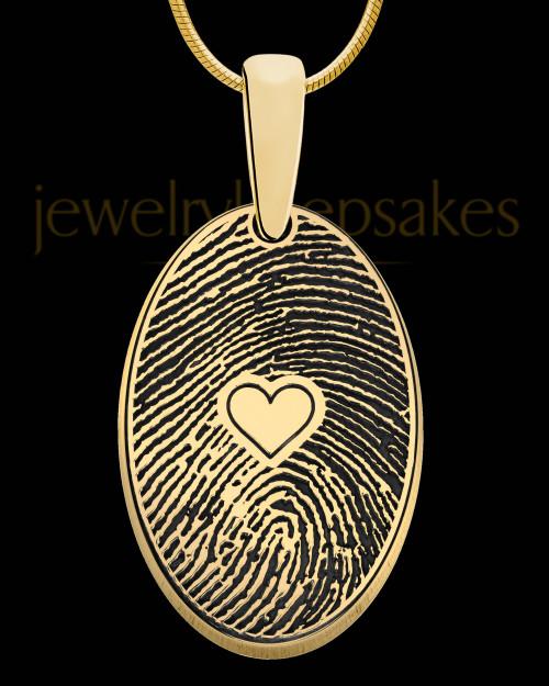 Gold Plated over Sterling Heartfelt Oval Heart Thumbprint Pendant